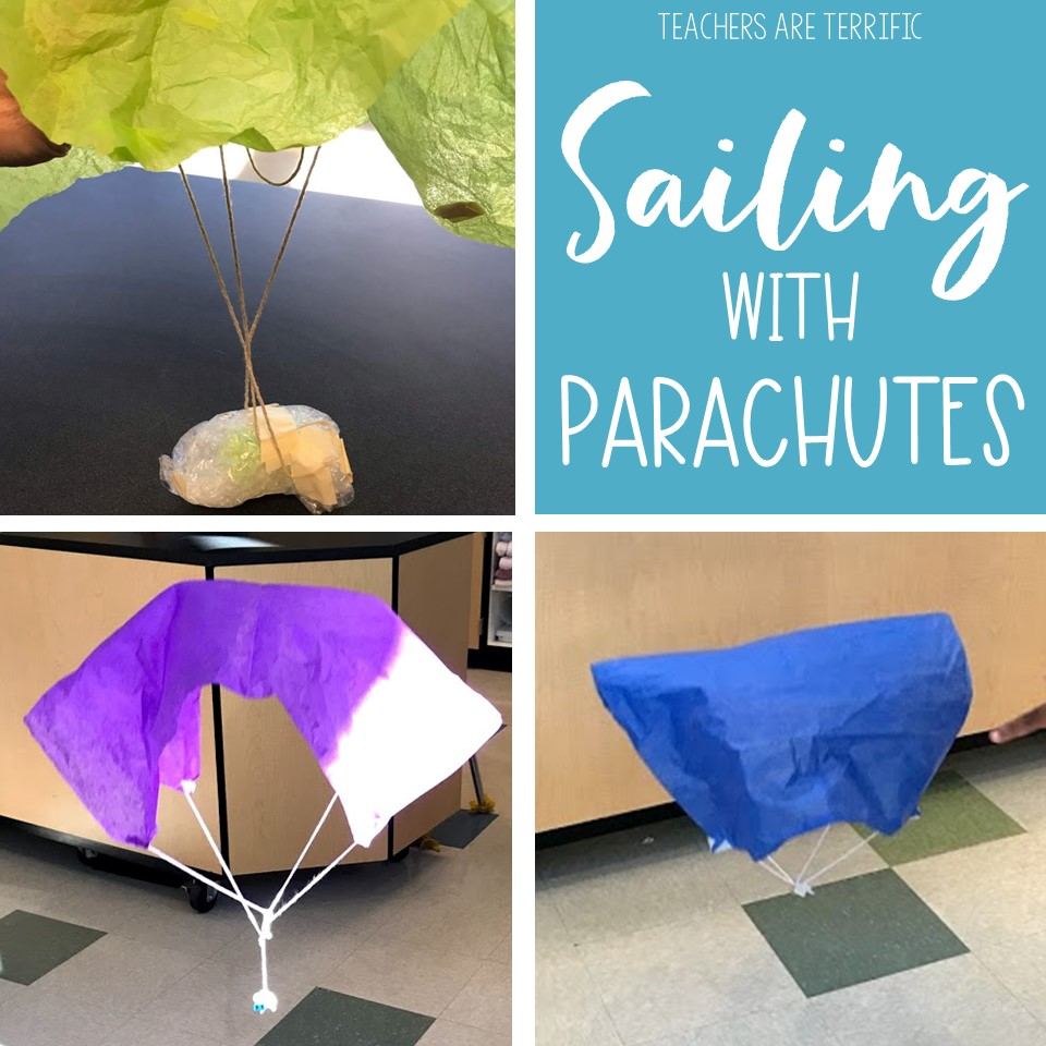 STEM Challenge- Design a parachute that safely brings its cargo to the ground. This blog post contains some variations of our project!
