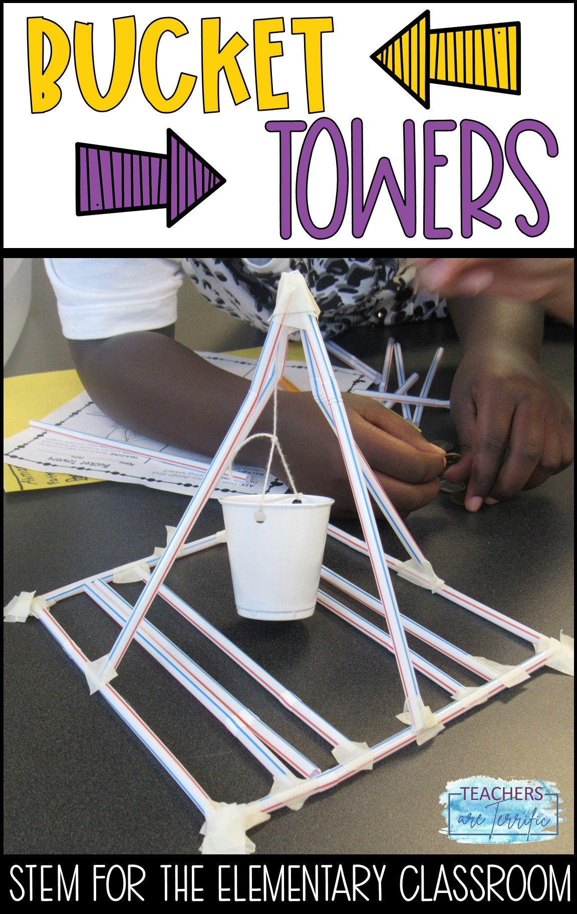 STEM Challenge- This elementary STEM Challenge features a tower or structure that will hold a bucket aloft. The bucket must hold weight. Straws are one of the main building materials.