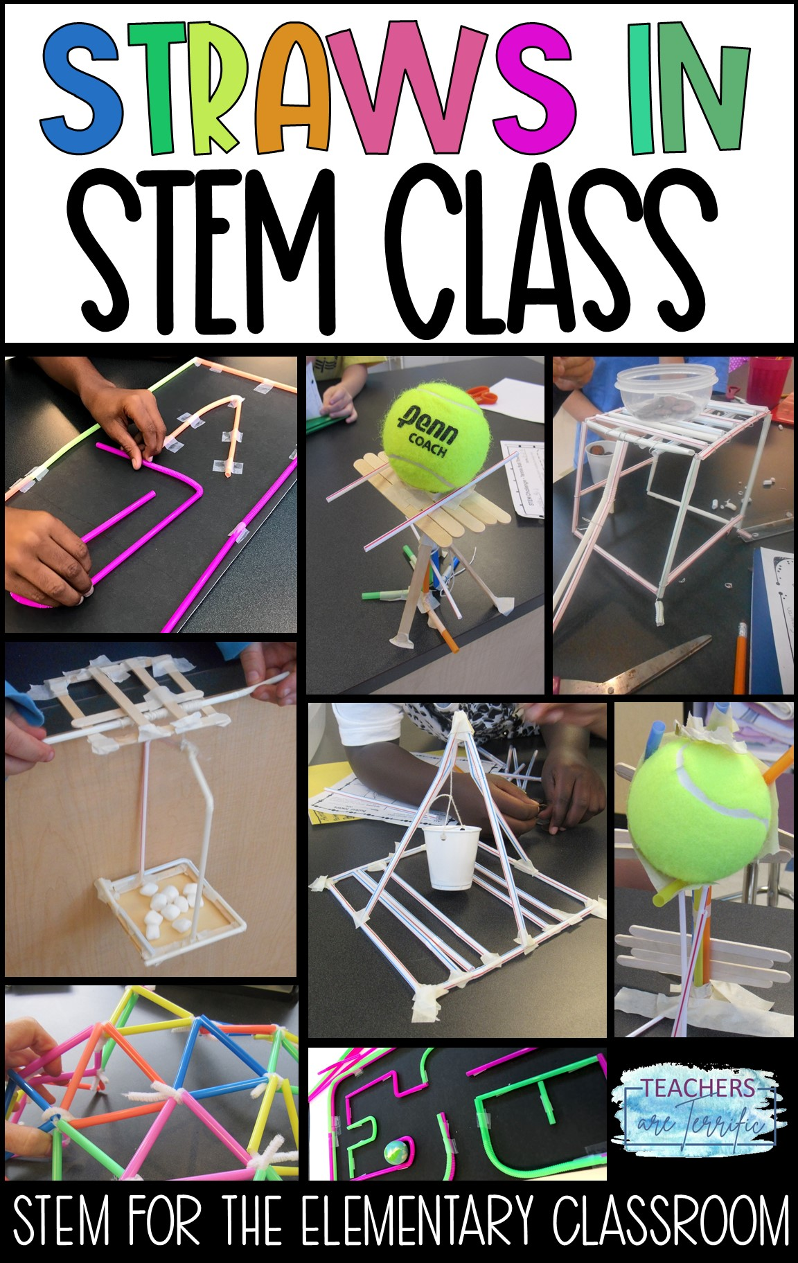 Straws in STEM Class- see six STEM projects that all use straws. This includes Bucket Towers, Geodesic Dome, Tennis Ball Towers, Rescue Devices, and more!