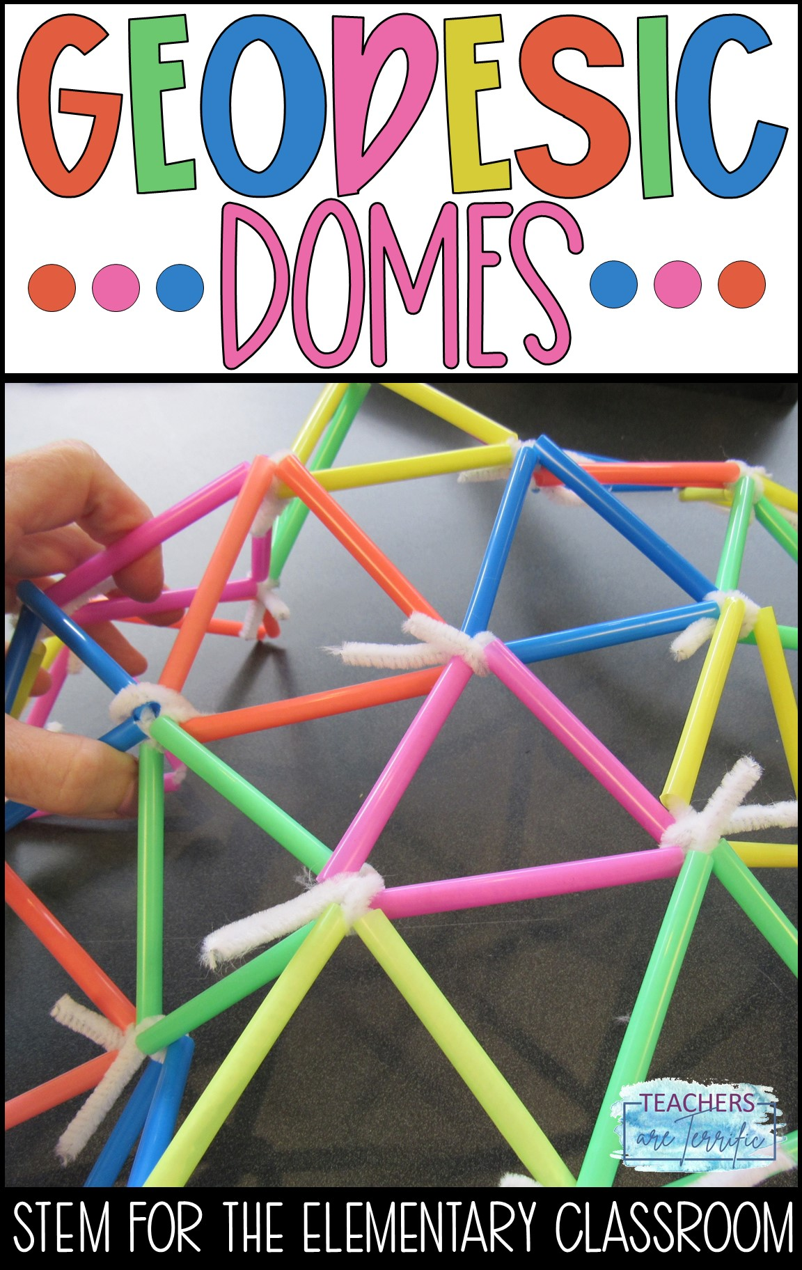 STEM Challenge for elementary students- students use straw pieces to make geodesic domes. This is a fabulous geometric puzzle to solve.