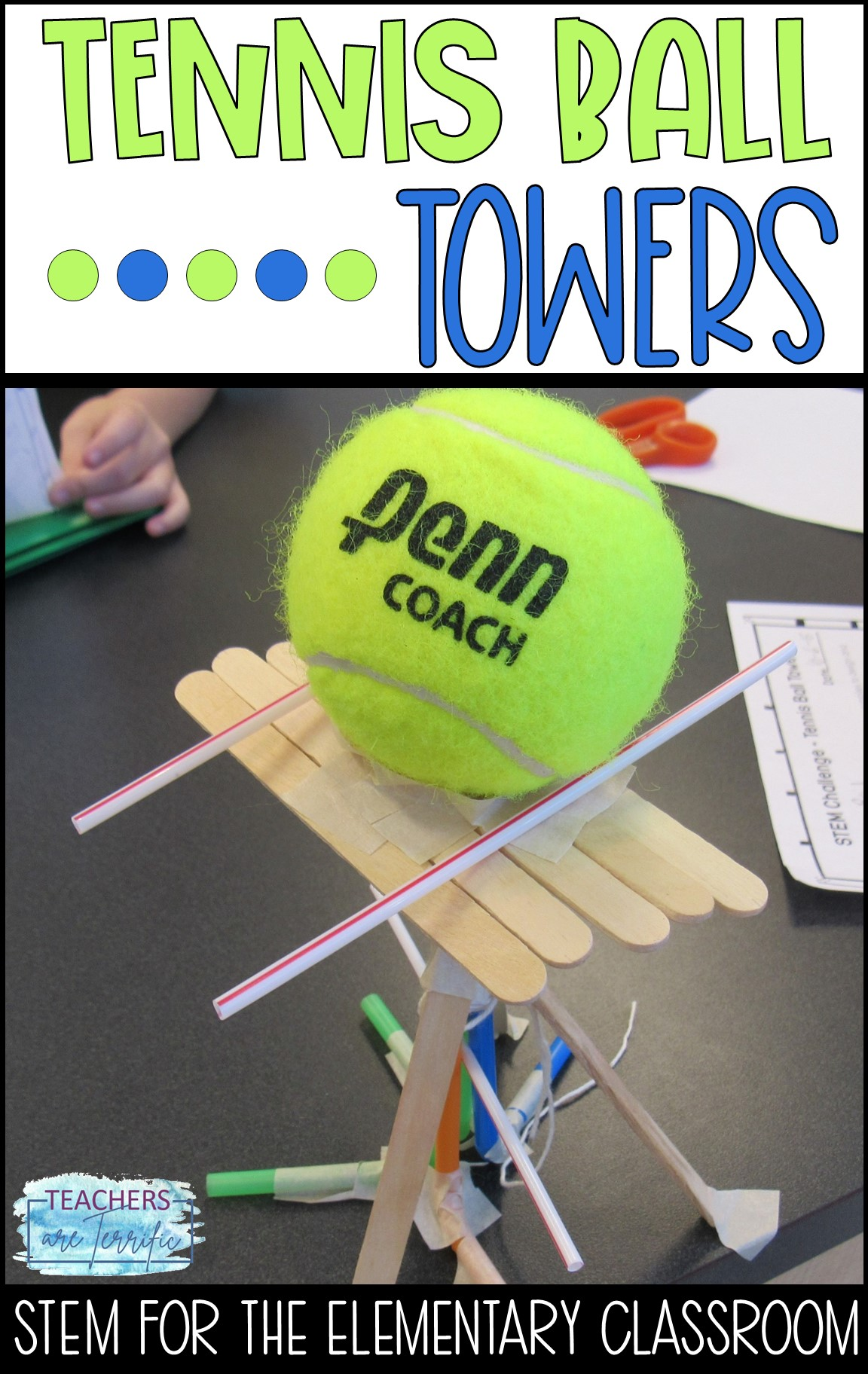STEM Challenge for elementary students. Create a tower or platform that will hold a tennis ball aloft. This is more challenging than you expect. Straws are one of the materials.