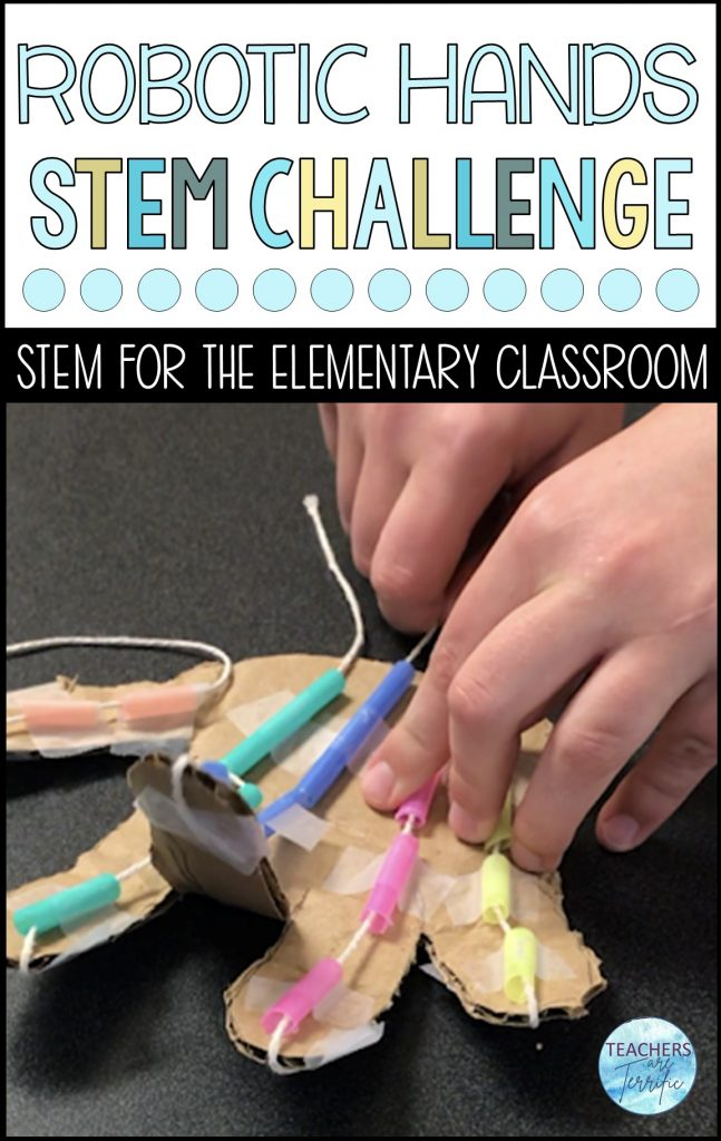 Do you need a real STEM engineering task?  How about a model of a robotic hand?  Briefly discuss how the hand works, then design a model.  This is a STEM challenge that must be tried out.
