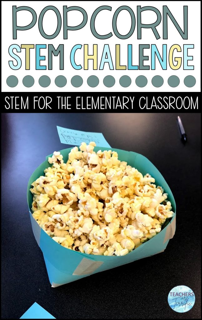 It's the Popcorn STEM Challenge!  This is one of my all-time favorites for exploring volume.  It's a STEM challenge that you absolutely have to try!