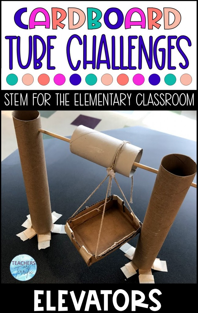 Cardboard Tube Challenge- Build a cranking roller that lifts a weight- it's an elevator! The main material is the flexible and versatile empty toilet tissue roll.