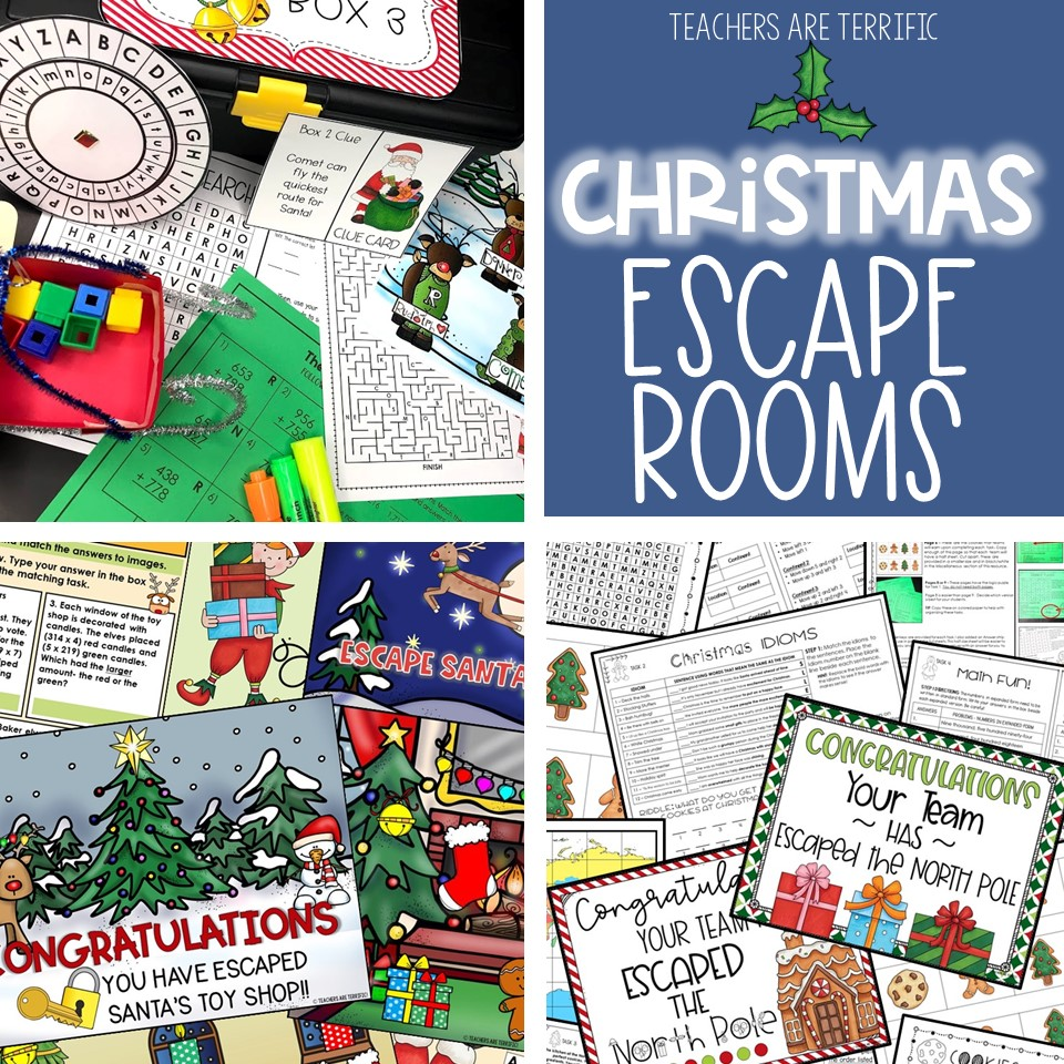 Christmas Escape Rooms are a great way to keep students engaged at a busy time of year! Three different escapes are featured in this post.