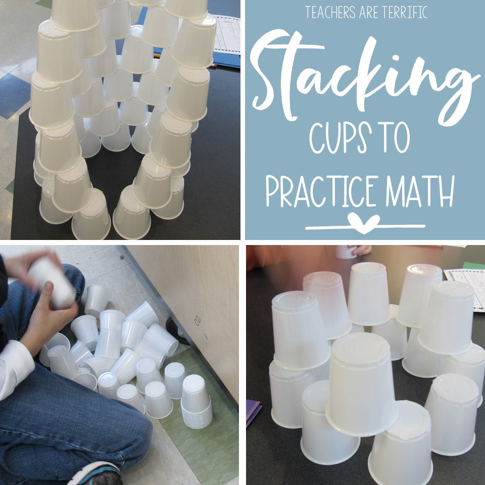 STEM Challenge Cup Stacking- here is a perfect way to practice some math skills. Students stack cups and use data collected to find the mean, median, mode, and range.