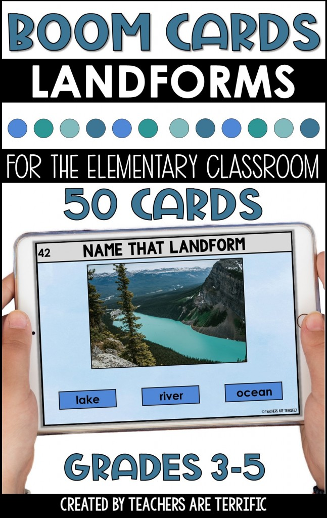 BOOM Task Cards are a perfect interactive practice with immediate feedback. This set features Landforms. Images are photos or clipart.