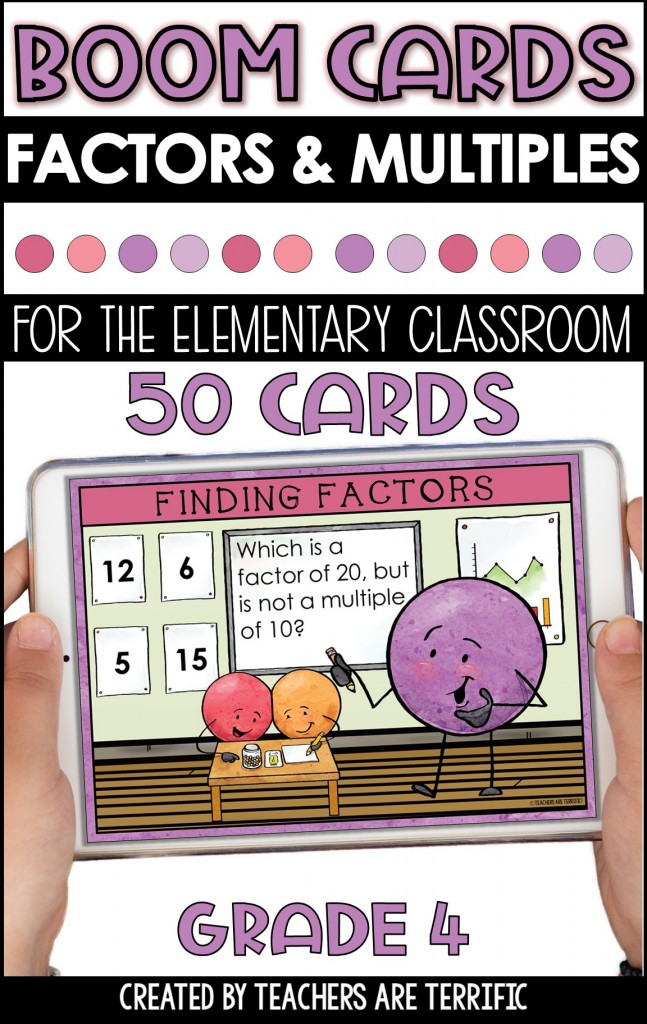 BOOM Task Cards are a perfect interactive practice with immediate feedback. This set features finding factors and multiples with a dot person classroom theme!