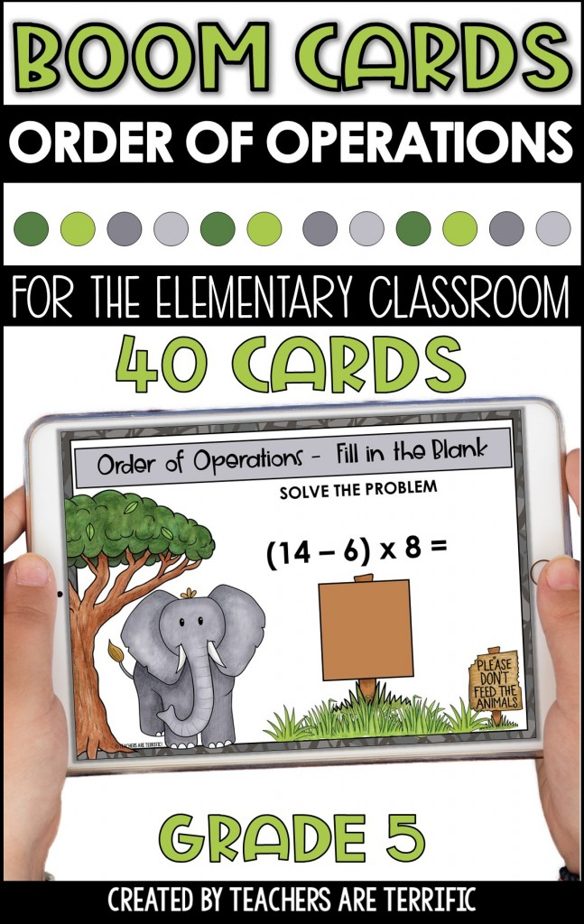 BOOM Task Cards are a perfect interactive practice with immediate feedback. This set features solving problems using Order of Operations with a zoo theme.